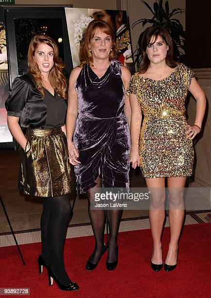Princess Beatrice Dutchess of York Sarah Ferguson and princess Eugenieattend the premiere of 'The Young Victoria' at Pacific Theatre at The Grove on...