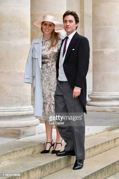 Princess Beatrice d'York and her fiance Edoardo Mapelli Mozzi attend the Wedding of Prince Jean-Christophe Napoleon and Olympia Von Arco-Zinneberg at...
