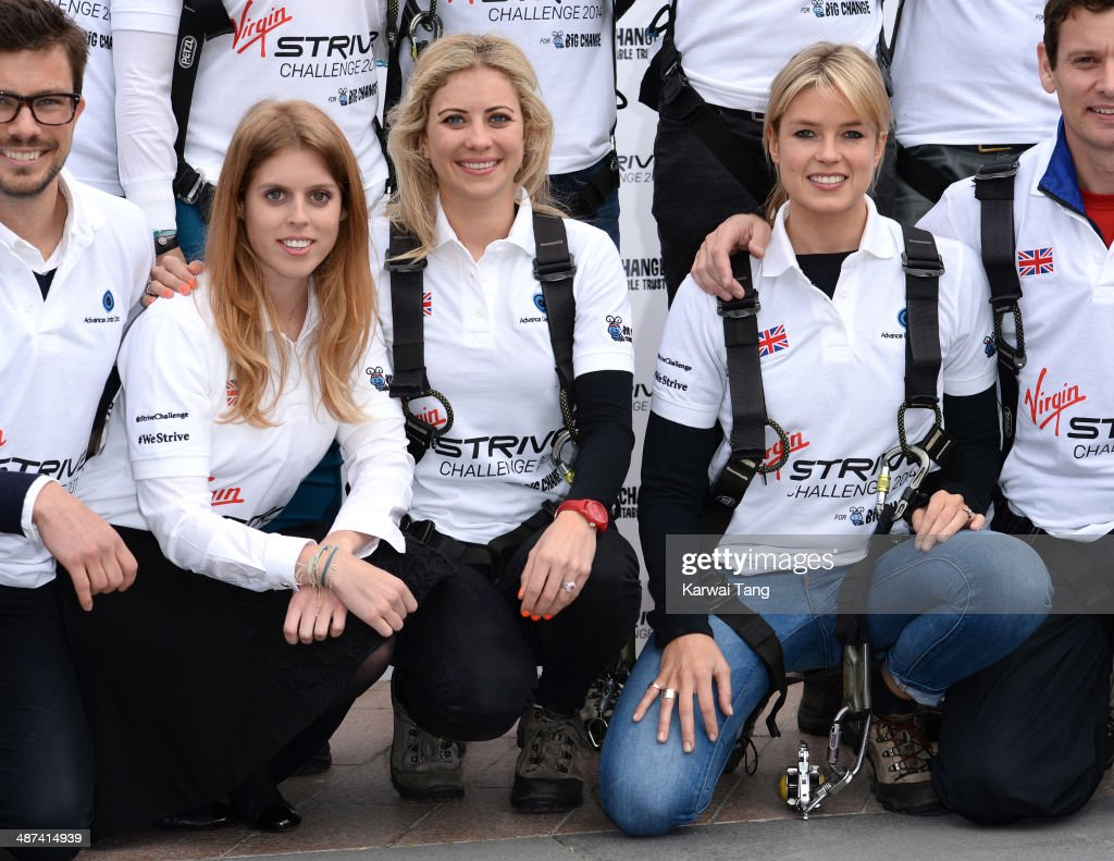 Princess Beatrice, Holly Branson and Isabella Calthorpe attend a photocall to launch the Virgin STRIVE Challenge held at the 02 Arena on April 30, 2014 in London, England.