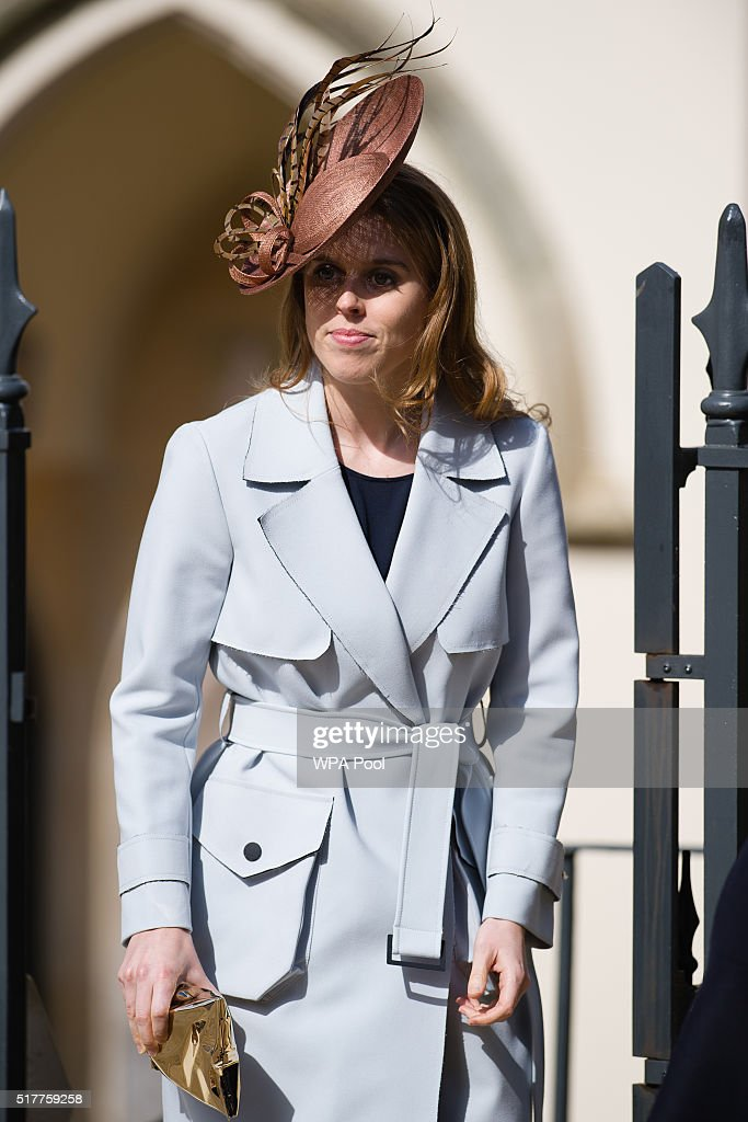 Princess Beatrice leaves after the Easter Sunday church service at St George's Chapel, Windsor Castle on March 27, 2016 in Windsor, England.