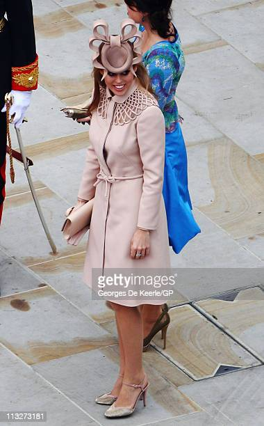 Princess Beatrice leaves Westminster Abbey following the Royal Wedding of Prince William to Catherine Middleton on April 29, 2011 in London, England....