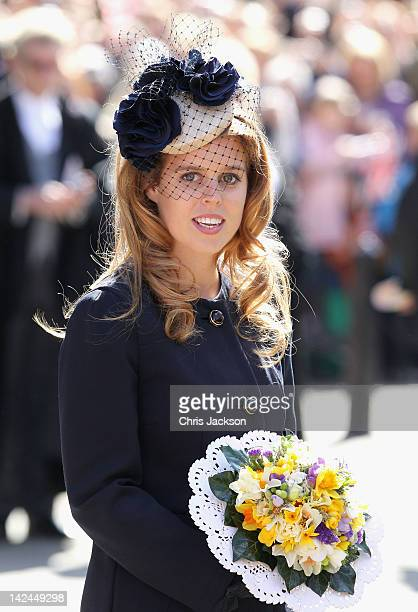 Princess Beatrice leaves York Minster after a Maundy Thursday Service at on April 5 2012 in York England Queen Elizabeth II Prince Philip Duke of...