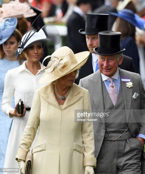 Princess Beatrice Meghan Duchess of Sussex Camilla Duchess of Cornwall Prince Harry Duke of Sussex and Prince Charles Prince of Wales attend the...
