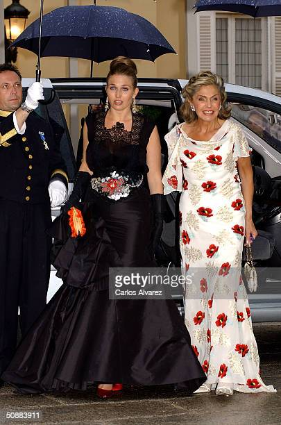 Princess Beatrice of Orleans and her daughter Princess Clotilde arrive to attend a gala dinner at El Pardo Royal Palace on May 21 2004 in Madrid...