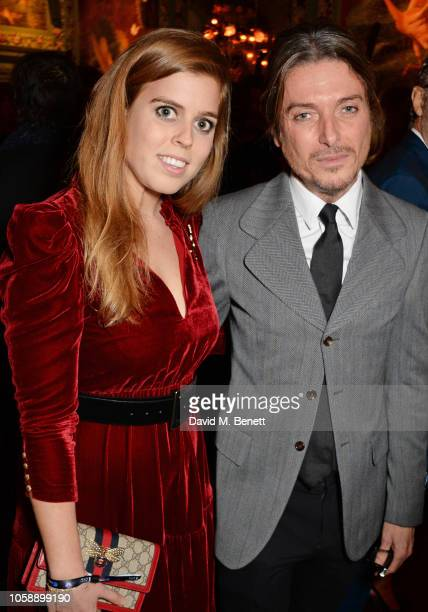 Princess Beatrice of York and Darren Strowger attend the Annabel's Art Auction fundraiser in aid of Teenage Cancer Trust Teen Cancer America at...