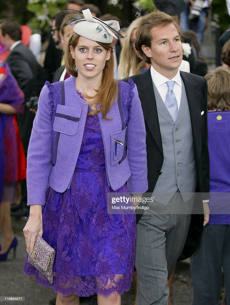 Princess Beatrice of York and Dave Clark attend the wedding of Sam Waley-Cohen and Annabel Ballin at St. Michael and All Angels church on June 11, 2011 in Lambourn, England.