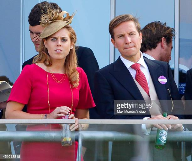 Princess Beatrice of York and Dave Clark watch the racing as they attend Day 5 of Royal Ascot at Ascot Racecourse on June 21 2014 in Ascot England