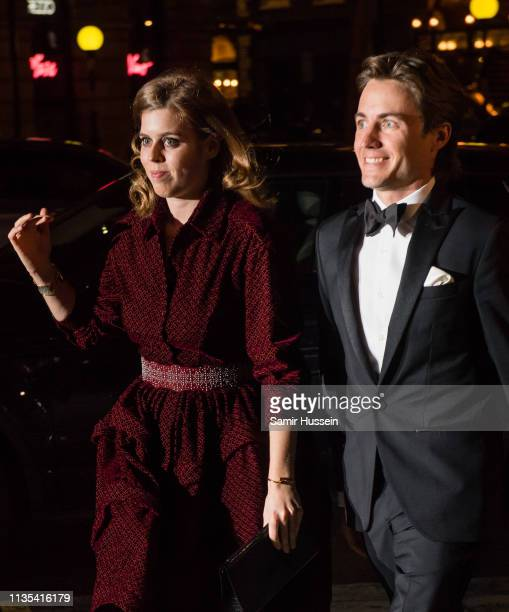Princess Beatrice of York and Edoardo Mapelli Mozzi attend the Portrait Gala 2019 at the National Portrait Gallery on March 12 2019 in London England