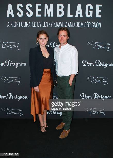 Princess Beatrice of York and Edoardo Mapelli Mozzi attend the Lenny Kravitz Dom Perignon 'Assemblage' exhibition the launch Of Lenny Kravitz' UK...