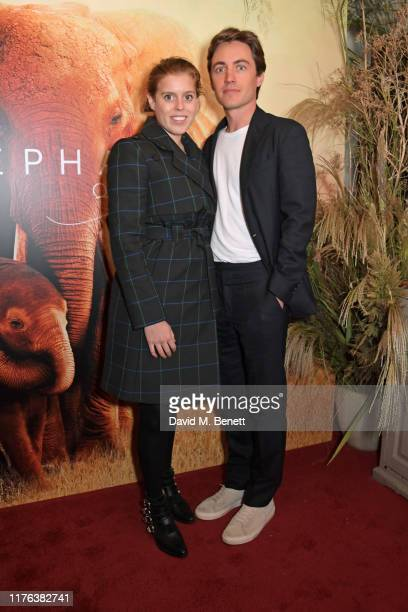 Princess Beatrice of York and Edoardo Mapelli Mozzi attend the London Premiere of Apple's acclaimed documentary The Elephant Queen on October 17 2019...