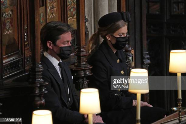 Princess Beatrice of York and Edoardo Mapelli Mozzi attend the funeral of Prince Philip, Duke of Edinburgh, at St George's Chapel at Windsor Castle...
