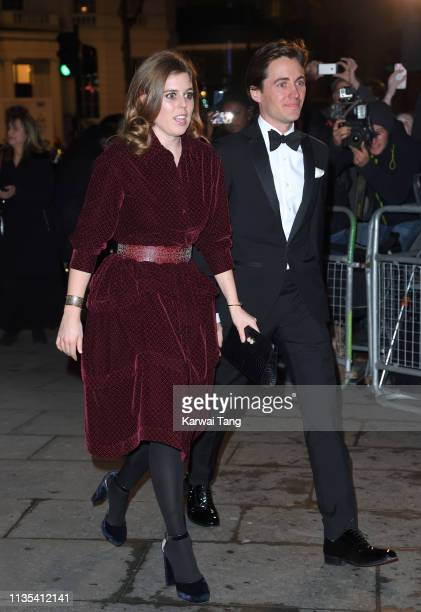 Princess Beatrice of York and Edoardo Mapelli Mozzi attends the Portrait Gala 2019 at National Portrait Gallery on March 12 2019 in London England