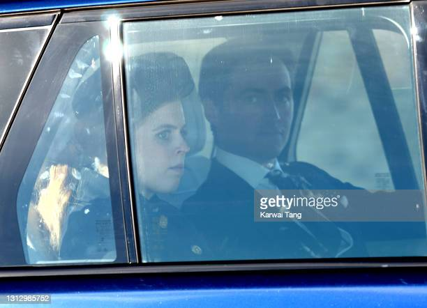Princess Beatrice of York and Edoardo Mapelli Mozzi depart after the funeral of Prince Philip, Duke of Edinburgh on April 17, 2021 in Windsor,...