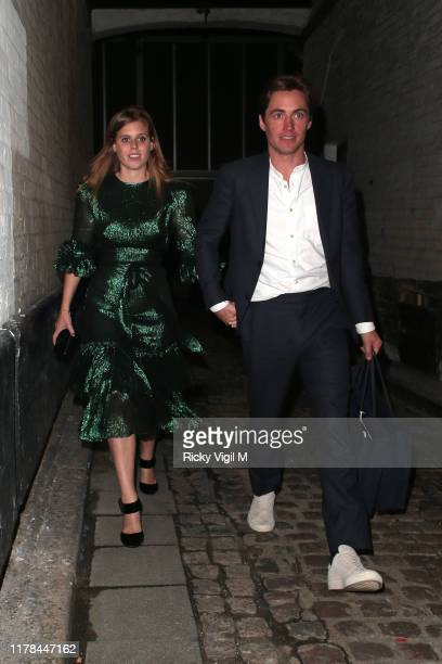 Princess Beatrice of York and Edoardo Mapelli Mozzi seen attending The Dior Sessions book launch afterparty on October 01 2019 in London England