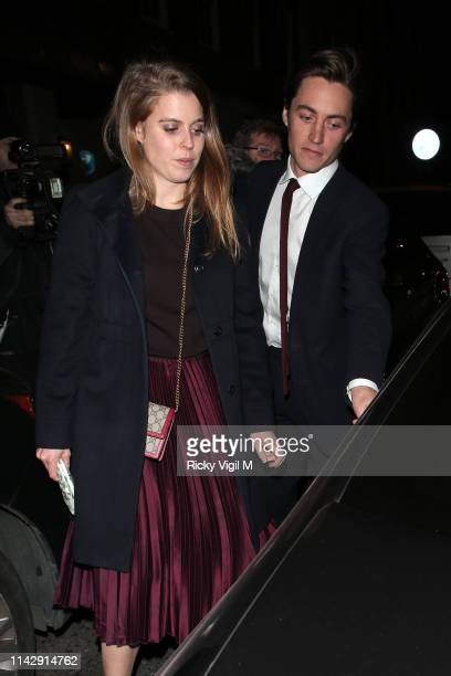 Princess Beatrice of York and Edoardo Mapelli Mozzi seen on a night out at 34 restaurant on April 15 2019 in London England