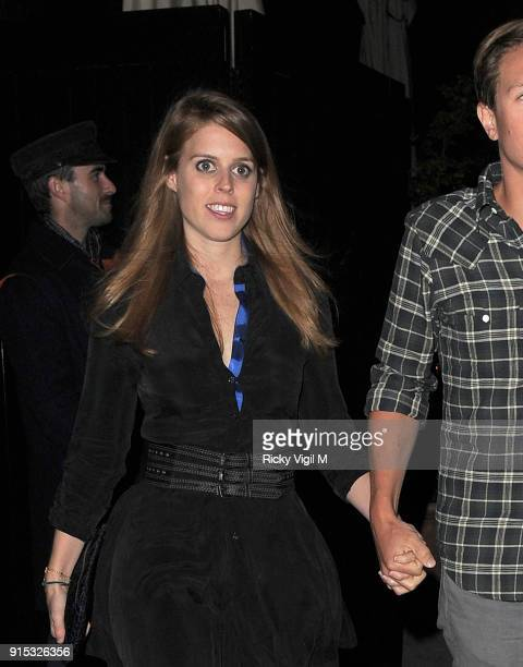Princess Beatrice of York and her boyfriend Dave Clark enjoy a night out at the Chiltern Firehouse on April 09 2014 in London England