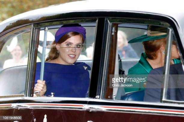 Princess Beatrice of York and her mother Sarah Ferguson arrive in their car to the Royal wedding of Princess Eugenie of York and Mr Jack Brooksbank...
