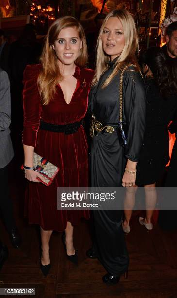 Princess Beatrice of York and Kate Moss attend the Annabel's Art Auction fundraiser in aid of Teenage Cancer Trust Teen Cancer America at Annabel's...
