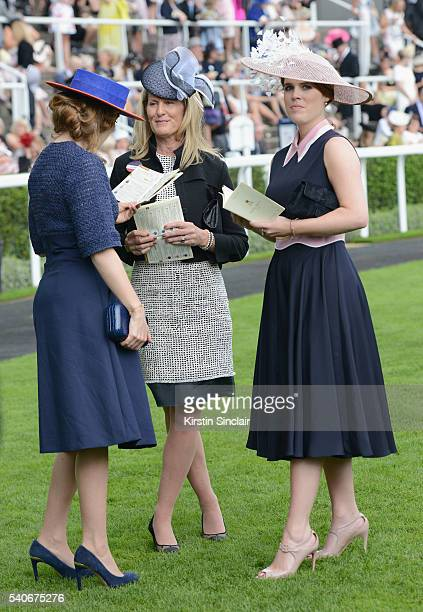 Princess Beatrice of York and Princess Eugenie of York attend day 3 of Royal Ascot at Ascot Racecourse on June 16 2016 in Ascot England