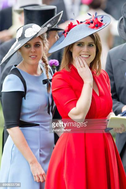 Princess Beatrice of York and Princess Eugenie of York attend Ladies Day at Royal Ascot 2017 at Ascot Racecourse on June 22 2017 in Ascot England