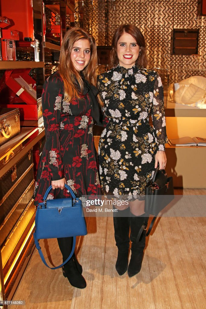 Princess Beatrice of York (L) and Princess Eugenie of York attend Louis Vuittons Celebration of GingerNutz in Vogue's December Issue on November 21, 2017 in London, England.