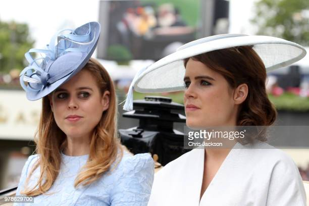 Princess Beatrice of York and Princess Eugenie of York attend Royal Ascot Day 1 at Ascot Racecourse on June 19 2018 in Ascot United Kingdom