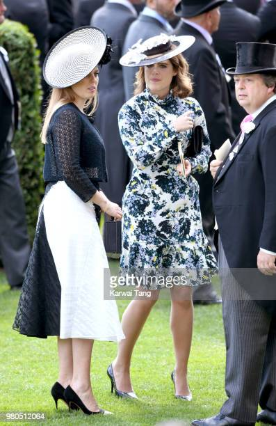 Princess Beatrice of York and Princess Eugenie of York attend Royal Ascot Day 3 at Ascot Racecourse on June 21, 2018 in Ascot, United Kingdom.