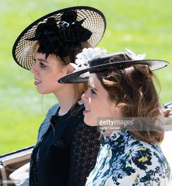 Princess Beatrice of York and Princess Eugenie of York during Royal Ascot Day 3 at Ascot Racecourse on June 21 2018 in Ascot United Kingdom