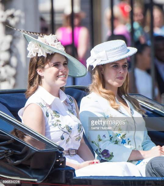 Princess Beatrice of York and Princess Eugenie of York during the annual Trooping The Colour parade on June 17 2017 in London England