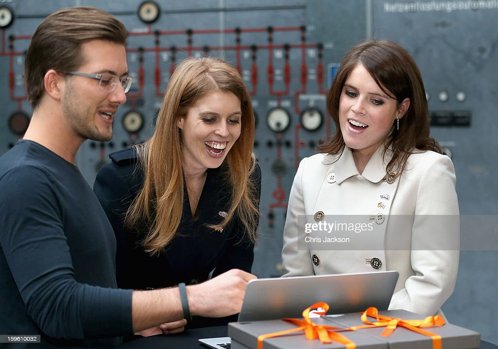 Princess Beatrice of York and Princess Eugenie of York laugh as they visit e-commerce company 'Zalando' on January 17, 2013 in Berlin, Germany. The royal sisters are in Berlin supporting the government's GREAT initiative, promoting the UK abroad. They will visit Hanover tomorow as part of a two-day trip funded by their father the Duke of York.