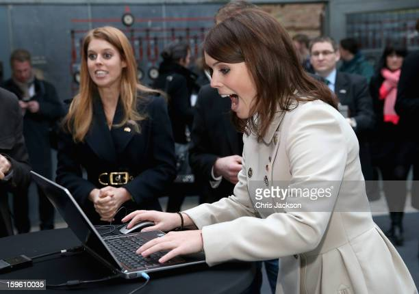 Princess Beatrice of York and Princess Eugenie of York laugh as they visit e-commerce company 'Zalando' on January 17, 2013 in Berlin, Germany. The...