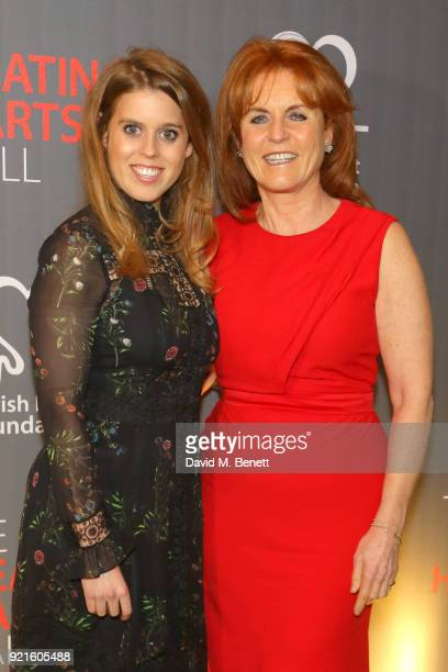 Princess Beatrice of York and Sarah Ferguson, Duchess of York attend the British Heart Foundations Beating Hearts Ball at The Guildhall on February...