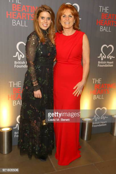 Princess Beatrice of York and Sarah Ferguson Duchess of York attend the British Heart Foundations Beating Hearts Ball at The Guildhall on February 20...