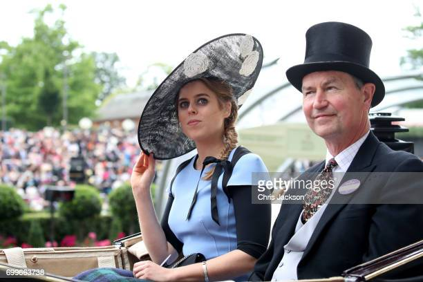 Princess Beatrice of York and Vice Admiral Sir Tim Lawrence arrive with the Royal Procession as they attend Royal Ascot 2017 at Ascot Racecourse on...
