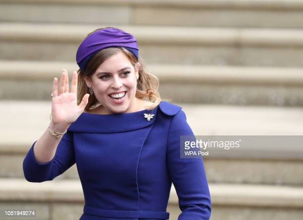 Princess Beatrice of York arrives ahead of the wedding of Princess Eugenie of York to Jack Brooksbank at Windsor Castle on October 12 2018 in Windsor...