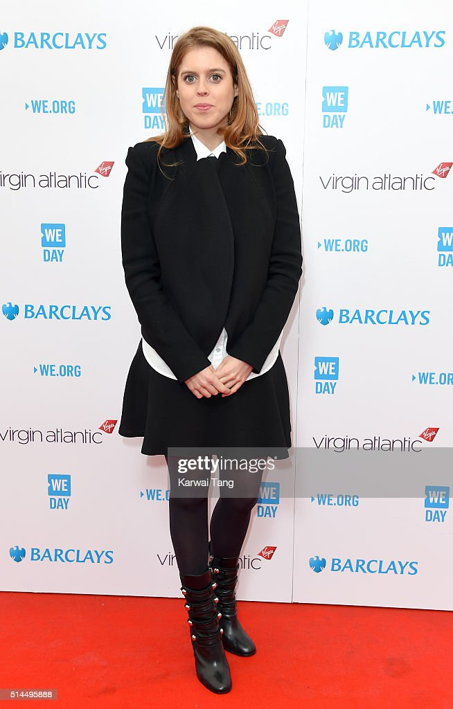 Princess Beatrice of York arrives for WE Day at SSE Arena on March 9, 2016 in London, England. WE Day is a celebration of youth making a difference in their local and global communities.