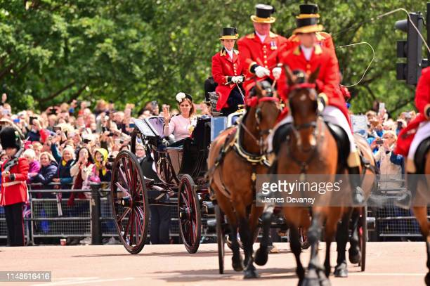 Princess Beatrice of York arrives to Buckingham Palace in a carriage during Trooping The Colour the Queen's annual birthday parade on June 8 2019 in...