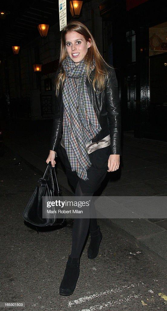 Princess Beatrice of York at Balthazar restaurant on April 2, 2013 in London, England.