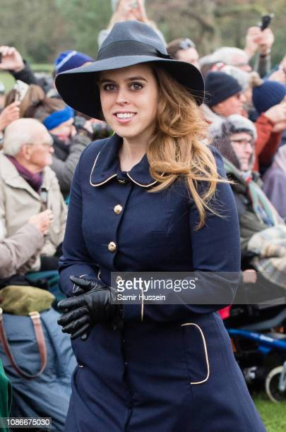 Princess Beatrice of York attend Christmas Day Church service at Church of St Mary Magdalene on the Sandringham estate on December 25 2018 in King's...