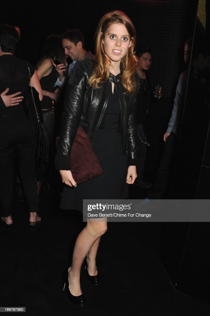 Princess Beatrice of York attend the after show party following the 'Chime For Change: The Sound Of Change Live' Concert at Twickenham Stadium on June 1, 2013 in London, England. Chime For Change is a global campaign for girls' and women's empowerment founded by Gucci with a founding committee comprised of Gucci Creative Director Frida Giannini, Salma Hayek Pinault and Beyonce Knowles-Carter.