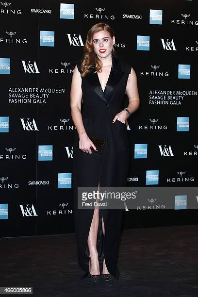 """Princess Beatrice of York attends a private view for the """"Alexander McQueen: Savage Beauty"""" exhibition at Victoria & Albert Museum on March 12, 2015..."""