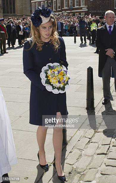 Princess Beatrice of York attends the Royal Maundy Service at York Minster in York northern England April 5 2012 During the Royal Maundy Service the...