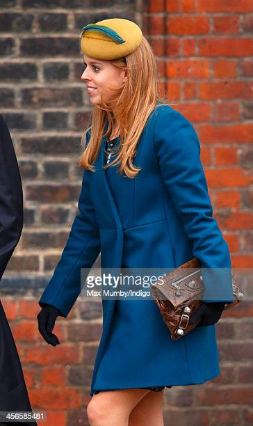 Princess Beatrice of York attends the wedding of Jake Warren and Zoe Stewart in the Wren Chapel at the Royal Hospital Chelsea on December 14 2013 in...