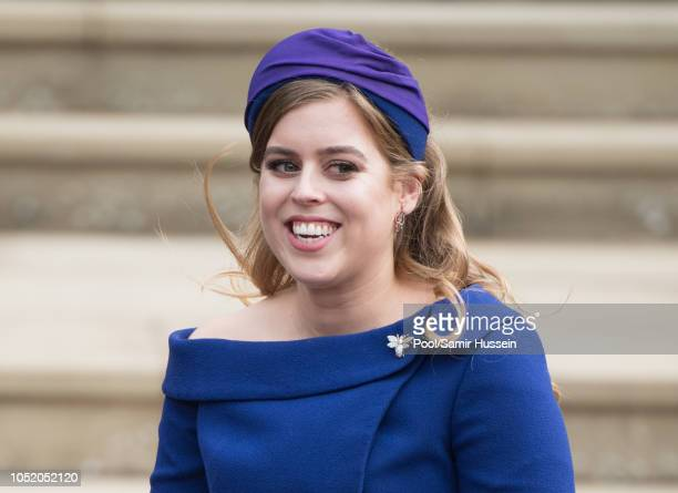 Princess Beatrice of York attends the wedding of Princess Eugenie of York and Jack Brooksbank at St George's Chapel in Windsor Castle on October 12...