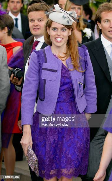Princess Beatrice of York attends the wedding of Sam WaleyCohen and Annabel Ballin at St Michael and All Angels church on June 11 2011 in Lambourn...