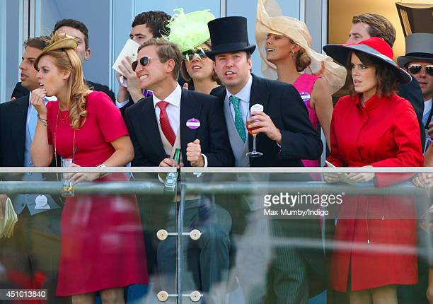 Princess Beatrice of York Dave Clark James Murray Wells and Princess Eugenie of York watch the racing as they attend Day 5 of Royal Ascot at Ascot...