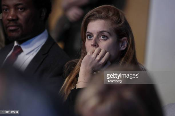 Princess Beatrice of York granddaughter of Queen Elizabeth II looks on from the audience during a panel session on day three of the World Economic...