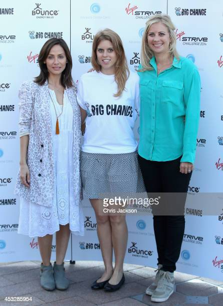 Princess Beatrice of York Holly Branson and Natalie Imbruglia attend a photocall as the Virgin STRIVE challenge sets off at 02 Arena on August 7 2014...