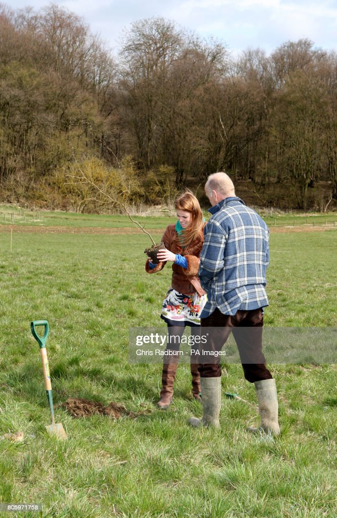 Princess Beatrice Of York Inspects Hazel Tree Saplings Alongside