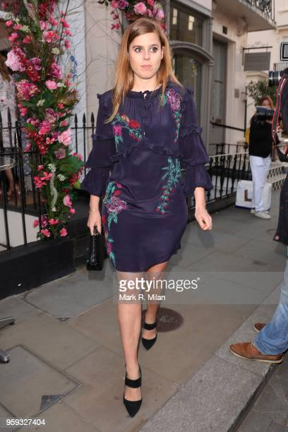 Princess Beatrice of York leaving the Beulah London store in Chelsea at the Chiltern Firehouse on May 16 2018 in London England